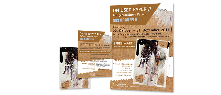 Plakat + Flyer Ausstellung 'On Used Paper'